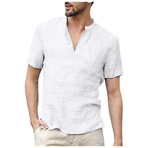 Yowablo Shirt Freizeithemd Herren Poplin Shirt Tops Sommer lose Baumwollmischung einfarbig Knopf Kurzarm (XXL,Weiß)