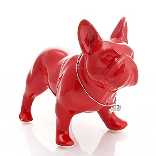liuanhuaming Ornaments Figurines French Bulldog Statue Dog Art Sculpture Ceramic Crafts Home Decoration Objects Ornament Porcelain Animal Figurine Decor