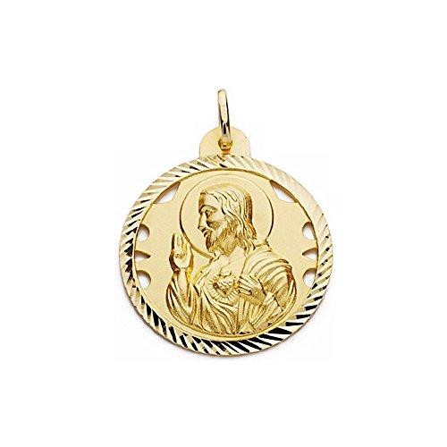 Medalla Oro 18K Escapulario 30mm Virgen Carmen Corazón Jesús [Aa2480]