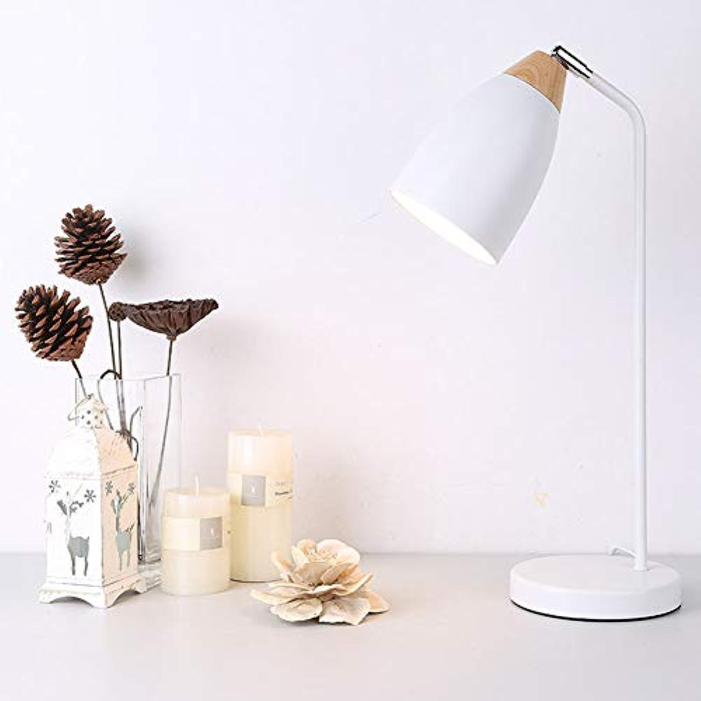 Tischlampe, Schlafzimmer Wohnzimmer Tischlampe, moderne minimalistische Büro College Schlafsaal Nachttischlampe, 40W,Weiß