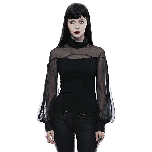 Punk Rave Damen Bluse Casual Hollow Out Perspective Gothic Sexy Viktorianischer Stil Sexy Frauen Shirt Gr. M, Schwarz