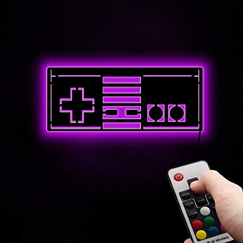 The Geeky Days Remote Control Retro Gamepad Wall Mirror with LED 7 Colors Backlight Game Joystick...