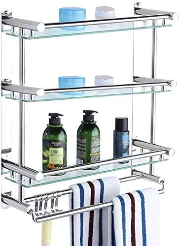 Badkamerrek, 3-laags, verstelbaar badkamerrek, doucheplank voor douchecabines, hangend (maat: C) B
