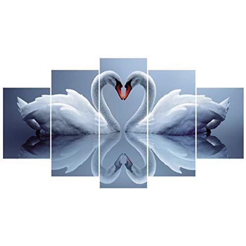 avis tirages photos professionnel Rouku 5 pièces / ensemble Double Swan Kiss Peinture Contemporaine Photo Imprimez une photo sur toile…