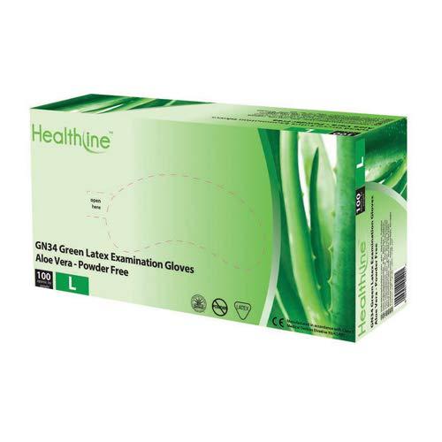 Healthline GN34 Aloë Vera gecoate poeder gratis groene latex wegwerphandschoenen - pak van 100 (klein)