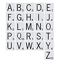 26pcs再利用可能なスクラブブル文字アルファベットステンシル描画Diy Craftの家の壁の装飾のための絵画テンプレート (サイズ : 15X15cm)