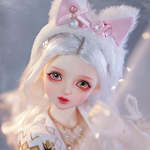 ZDD Muñeca BJD con Orejas de Gato Estilo Japonés 1/4 SD Dolls41.8cm Juguetes Bricolaje niñas, Juego Completo Ropa Zapatos Maquillaje Peluca, Materiales Resina avanzados