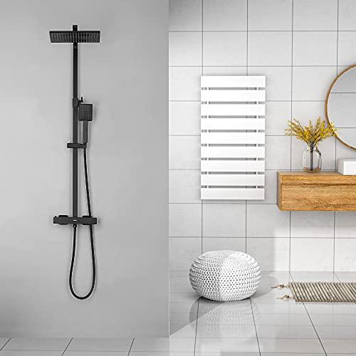 KAIBOR Set de Ducha Termostatica Negro, Sistema de ducha termostática, Ducha de Lluvia 26x19cm y Ducha de Mano Altura Ajustable, protección contra las quemaduras