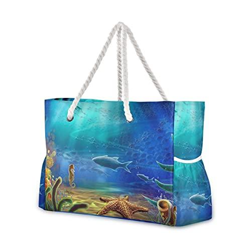 Bolsas de playa grandes Totes de lona Bolsa de hombro Sea-Fish-Coral-Starfish Resistente...