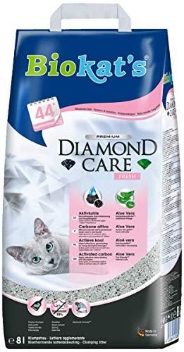 Biokat's Diamond Care Fresh mit Duft - Feine Katzenstreu mit Aktivkohle und Aloe Vera - 1 Sack (1 x 8 L)