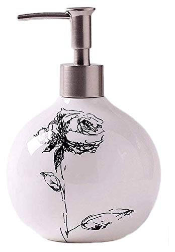 HLZY Dispensadores de jabón de encimera de baño, Dispensador de jabón Cerámica Jabón y loción Dispensador Redondo Cerámica Cerámica Líquido Líquido Líquido Dispensador Botella Botella (Color : A)