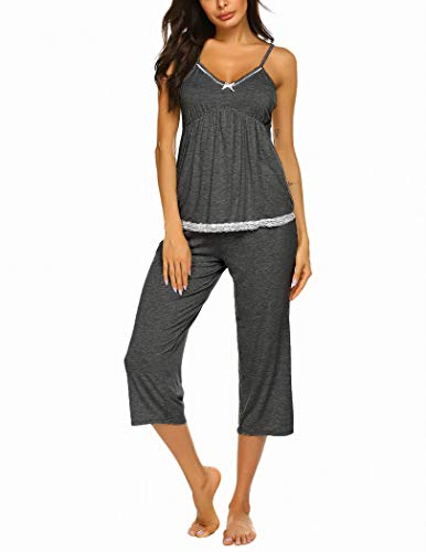 Ekouaer Pajamas for Women Shorts Set Cami Tops with V Neck Sexy Sleepwear Dark Gray XL