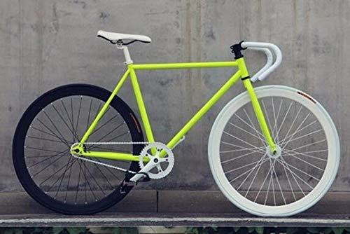cuzona Bicicleta Bicicleta de Engranaje Fijo 46cm 52cm 56cm DIY Bicicleta de Carretera de Velocidad única Pista Fixie Bicicleta Fixie Bike-Yellow_52cm (175cm-180cm)