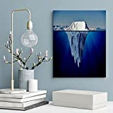 Underwater Canvas Print Wall Art Iceberg With Underwater View Artwork For Kitchen Bathroom Home Office Decoration Wall Decor 16x24 Inch