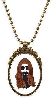 Long-haired Men Women Beard Sunglasses Antique Necklace Vintage Bead Pendant Keychain