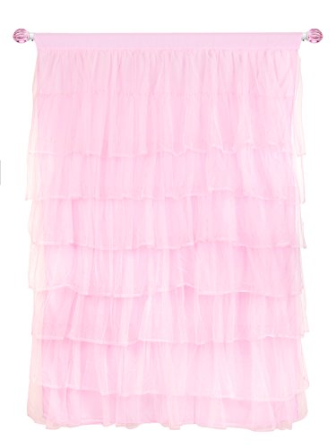 Tadpoles Multi-Layer Tulle Curtain Panel, Pink, 63 Inch