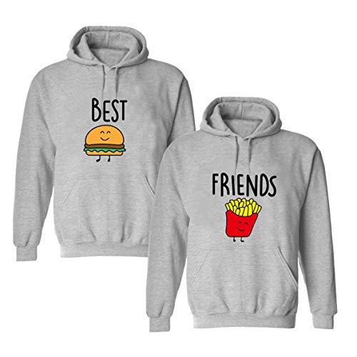 Daisy for U Beste Freunde Pullover für Zwei Mädchen Best Friends Hoodie BFF Pullover Sister Kapuzenpullover Damen Pulli Geburtstagsgeschenk 1 Stück-Grau - Pommes-S