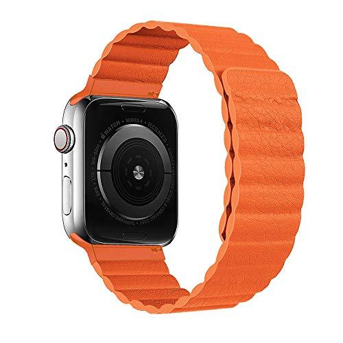 HONGKAN Compatible con Correa de Cuero Apple Watch 38/40/42/44 mm, Correa Ajustable Mejorada con Fuerte Cierre magnético Compatible con iWatch Series 6/5/4/3/2/1/SE (42mm/44mm, Naranja)