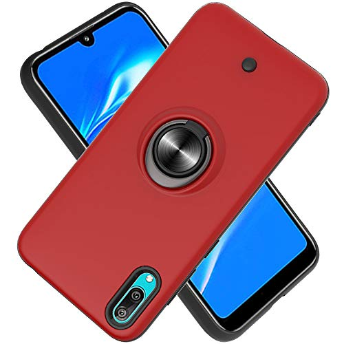 2in1 Phone Protective Case with Phone Ring,Decompression Button,Rotary Gyroscope,PC+ TPU Double-layer Phone Cover for Huawei Y7 Pro (2019) -Red