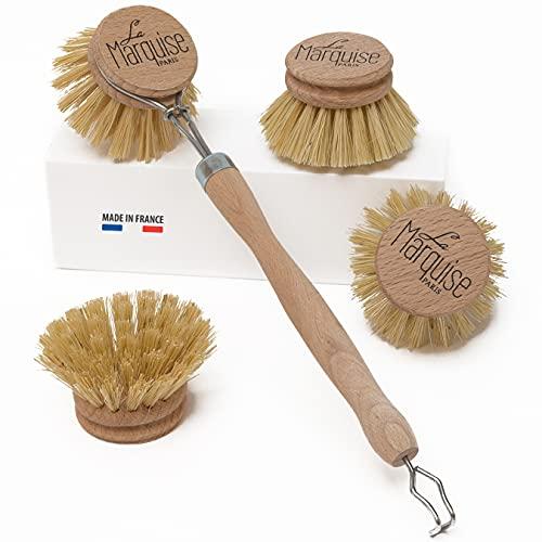 """La Marquise – Spazzola per piatti """"zero rifiuti"""" in legno – Tre testine di ricambio incluse – Spazzole ecologiche e di lunga durata"""
