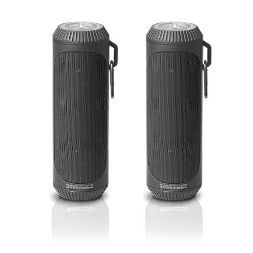BOSS Audio Systems BOLTGRY Portable Bluetooth Speakers - Gray, 1.5 Inch Speakers, 12 Hours of Play Time, Built-in Emergency Flashlight, Sold in Pairs for Stereo Sound