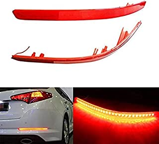 iJDMTOY Brilliant Red 40-SMD LED Bumper Reflector Lights for 11-13 Kia Optima K5, Function as Tail & Brake Lamps