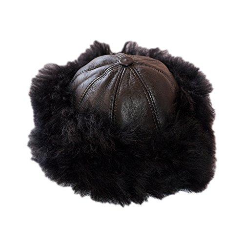 Dazoriginal Ushanka Mujer Piel Gorro Ruso Invierno Boina Cuero Sombrero Punto