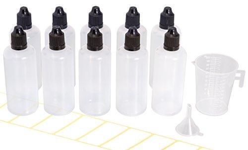 Beilheimer 10x Tropfflasche 100ml mit Gratis Trichter, Messbecher und Etiketten. Reiseflasche Handegepäck. Plastikflasche für E-Liquids