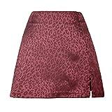 Verano Estampado De Leopardo Cintura Alta Split Falda Corta Jacquard SatéN Cremallera Falda Mujer