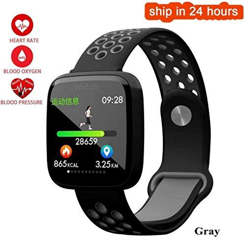 Sporthorloge, waterdicht, sport, zwemmen, smartwatch, hartslag, zuurstof, bloeddruk, polsband voor Android iOS, smartphone (kleur: VE, Gray With Black