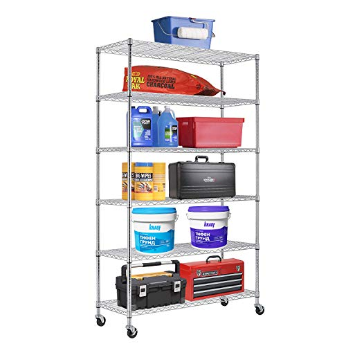 6 Tier Wire Shelving Unit Metal Shelf organizer Heavy Duty Storage Unit Wire Rack NSF Certification 2100LBS Capacity With Wheels-18x48x82