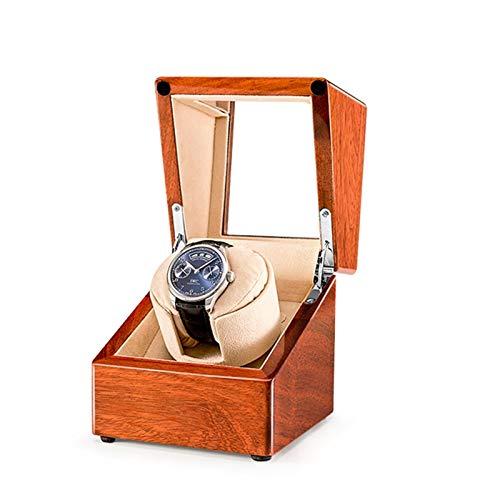 zyy Cajas Giratorias para Relojes Caja Relojes 1 Relojes Caja de Reloj Automático A Prueba de Polvo de Madera Caja de Reloj con Motor Silencioso Beige