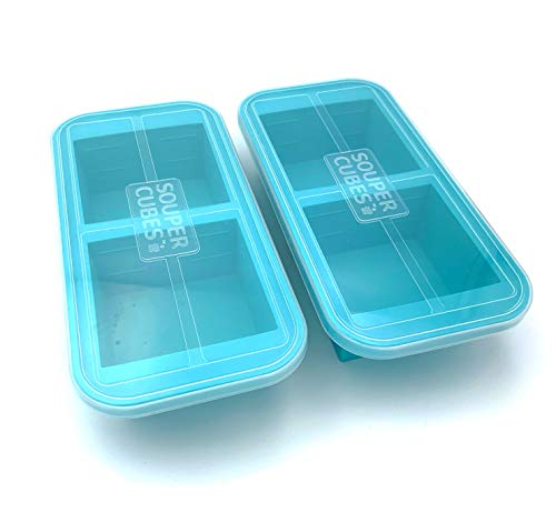 Souper Cubes 2-Cup Extra-Large Silicone Freezer Tray with lid- 2 pack - makes 4 perfect 2 cup portions - freeze soup, stew, sauce, or meals (2 Cup tray, Aqua color, pack of 2, with lids)