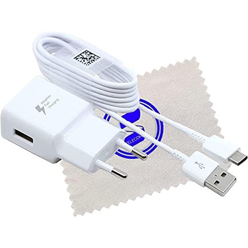 SHLOK - Cargador para Samsung Galaxy A51 A60 A70 A70s A71 A80 A90 5G Fold M11 M20 M21 M30 Fast Charge 15W 2A cable de carga tipo C con paño de limpieza