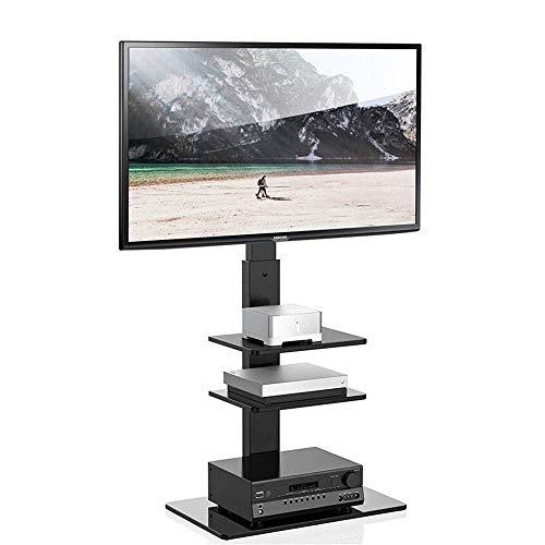 N/Z Daily Equipment Soporte de TV para televisores 37 65 LCD LED Plasma Flat Curved con 3 estantes de Vidrio Templado Soporte de Montaje Ajustable en Altura giratoria Negro