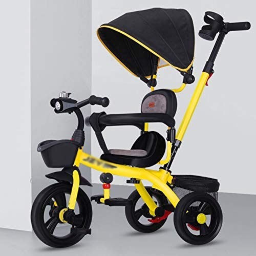 Kinderwagen kinderen driewieler met duwstang/wielkoppeling/draaibaar/met opbergmand vouwkinderwagen sportwagen buggy geel
