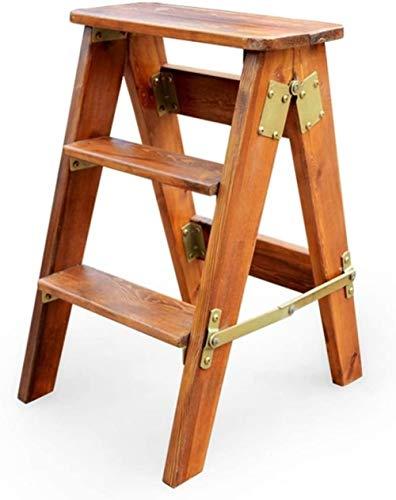 Taburete de Escalera Plegable 3 escalones Taburetes de Madera para pies Escalera de Mano para Adultos Banco de Zapatos portátil Estante de Flores Cocina Interior Baño-Segundo Improve