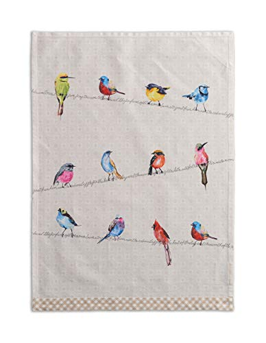 Maison d' Hermine Birdies On Wire 100% Cotton Set of 2 Multi-Purpose Kitchen Towel Soft Absorbent Dish Towels | Tea Towels | Bar Towels (20 Inch by 27.50 Inch)
