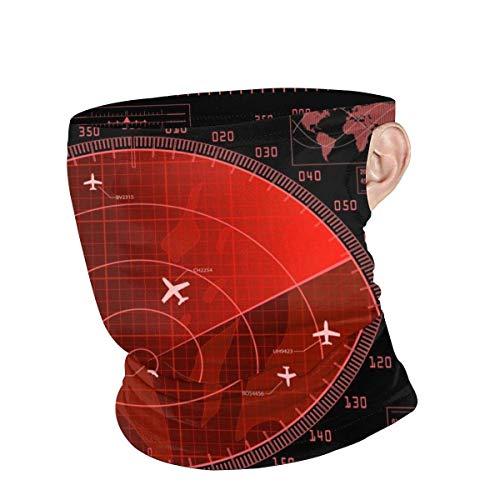 Niet van toepassing Sport Gezicht Sjaal, Rood Radar Scherm Met Vliegtuigen Gezicht Guard, Mulipurpose Sjaal Hoofdbanden Voor Atletische Sporting Gym,25x30cm