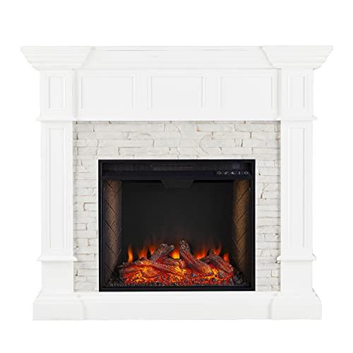 SEI Furniture Merrimack Faux Stone Convertible Alexa-Enabled Electric Corner Fireplace, Fresh White