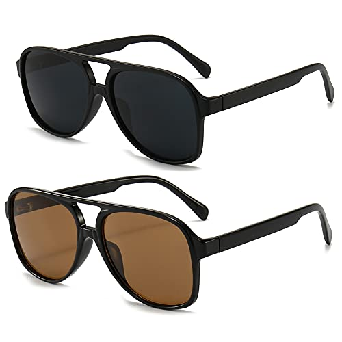 RUNHUIS Gafas de sol polarizadas para hombre y mujer, estilo retro de los años 70, estilo aviador, Negro mate + negro/marrón,