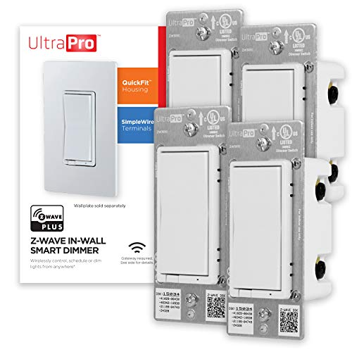 UltraPro White Z-Wave Plus Smart Light Dimmer Switch, in-Wall Paddles   Repeater Range Extender   ZWave Hub Required-Alexa and Google Assistant Compatible, 4 Pack, 54898, 4