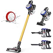 Dibea D18 Lightweight Cordless Stick Vacuum Cleaner, 12000Pa Powerful Suction Bagless Rechargeable 2 in 1 Handheld Car Vacuum Gold