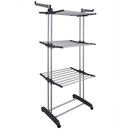 Yeshom Foldable 3 Tier Clothes Drying Rack Rolling Collapsible Laundry Dryer Hanger Stand Rail Indoor Dark Grey