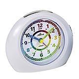 1967-0 - Reloj despertador analógico para niños (sin tic tac, con luz, función de repetición de alarma), color blanco