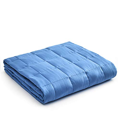 YnM Weighted Blanket — Heavy 100% Oeko-Tex Certified Cotton Material with Premium Glass Beads (Monaco Blue, 48''x72'' 15lbs), Suit for One Person(~140lb) Use on Twin/Full Bed