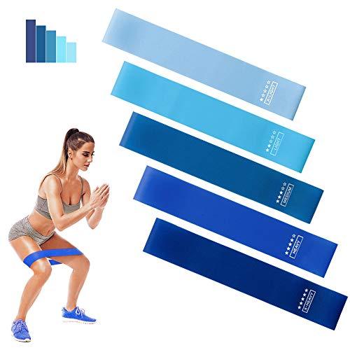 BIFY Fitnessbänder [5er Set] Widerstandsbänder Theraband,Loop-Bands,Resistance Bands, Gymnastikband aus Naturlatex für Muskelaufbau Pilates Yoga usw (Farbverlauf blau)