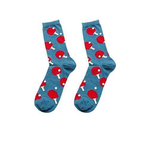 GHRFZC Socken Bunt,Tischtennis Schläger Muster Nett Lustig Junge Socken Unisex Retro Lustig Cartoon Cool Persönlichkeit Design Multi Alltag Arbeit Casual Neuheit Socken (3 Ps)