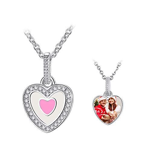 Collar en forma de corazón Collar con foto personalizada Collar con imagen personalizada Collar de plata Collar de confesión(Plata 14)