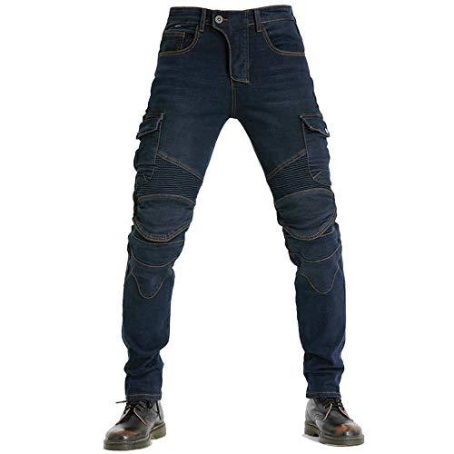 Pantaloni da Moto da Uomo, Jeans da Motociclista Elasticizzati Slim Fit da Uomo, Jeans alla Moda su Tutta La Vita, 4X Imbottitura di Protezione. (Blu,L)